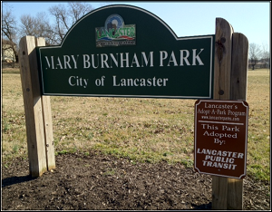 Mary Burnham Park Sign adopted by Lancaster Public Transit